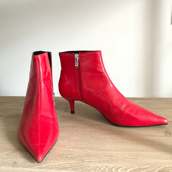a5a8987ea8 Red kitten heel booties. M_5abcf64b50687cbf77409220